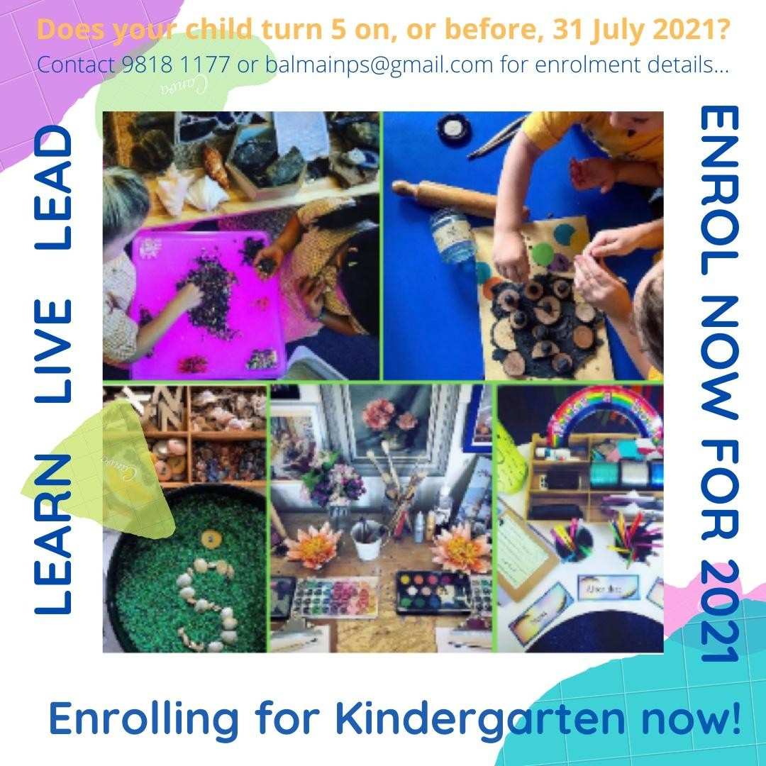 Enrol NOW for Kindergarten 2021